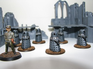 Brigadier Lethbridge-Stewart (BTD) and some Daleks (Citadel)