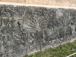 Mural at the Great Ball Court; assuming to show the sacrificial beheading of the winning team's captain